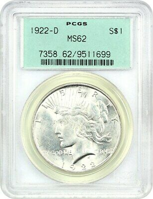 1922-D $1 PCGS MS62 (OGH) - Peace Silver Dollar - Old Green Label Holder