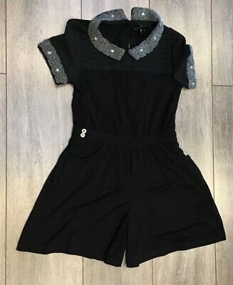 Girls Beautiful Black & Silver Encrusted Next Short Suit Size 9 Years