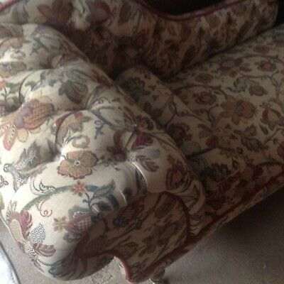 Antique Chaise Longue,Mahogany, Heavy Floral Fabric Upholstery and Brass Castors