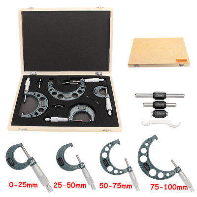4PCS Micrometer 0-4'' 0-100mm/0.01mm Outside Calipers Precision Measuring Tool