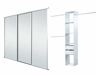 Sliding Wardrobe Doors (Mirrored x 3) & Storage. Up to 2235mm (7ft 4ins) wide