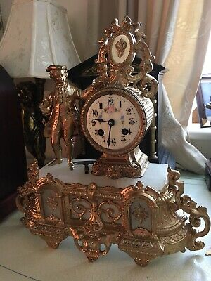 French Alabaster Ormolu Mantle Clock