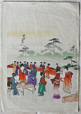 Original Japanese wood block print of women viewing items on outside tables