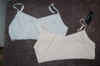 M&S Autograph 2 Supersoft Cotton Crop Tops Grey/Peach Age 13-14 Years BNWT
