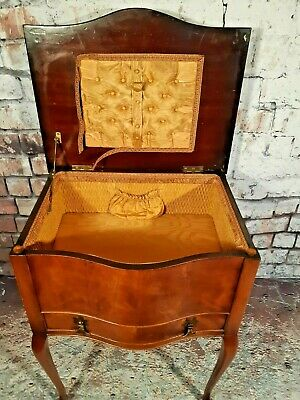 Antique Edwardian Victorian Mahogany Sewing Box Side Table Draws Bedside Table