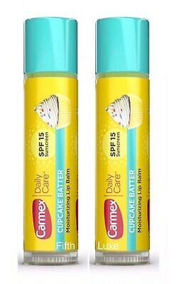 2 Pack Carmex Cupcake Batter Lip Balm Expires SPF 15, Sealed/Uncarded