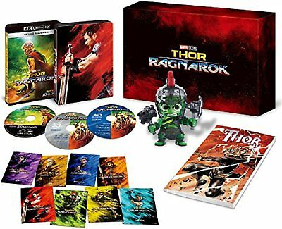 Thor: Ragnarok 4K UHD MovieNEX 4K ULTRA HD + 3D + Blu-ray w/ Hulk figure F/S NEW