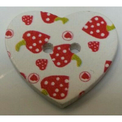 Strawberry Heart Buttons, Size 2.2mm, knitting, kids, craft, crochet, sewing