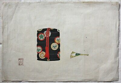 Original Japanese wood block print of an inro and fan