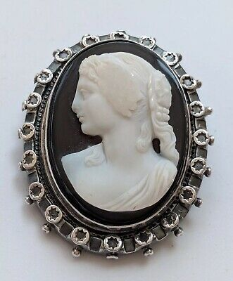 Antique Victorian Hardstone Agate Cameo Brooch Pin Chester Silver 1869-70