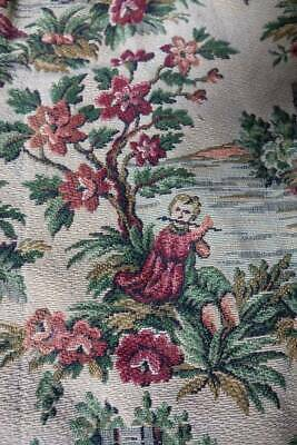 """Antique heavy brocade upholstery curtain fabric C18th country life 45"""" x 60"""""""