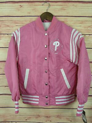 Adidas Philadelphia Phillies Girls Jacket Sz M Pink White MLB Baseball New