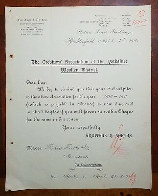 1910 The Creditors Association of the Yorkshire Woolen District Letter