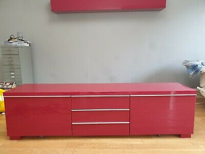 Ikea Besta Burs Tv Unit High And Dvdcd Unit Gloss Red With Storage Drawers