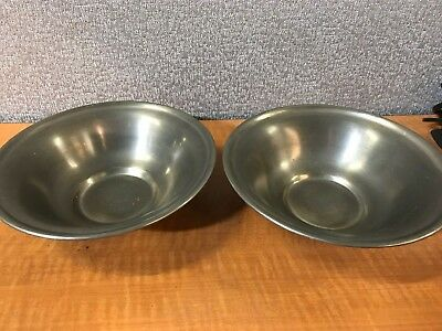 "Set of 2 Vintage Pewter Serving Bowls  Colonial Castings 9.75"" X 3"""