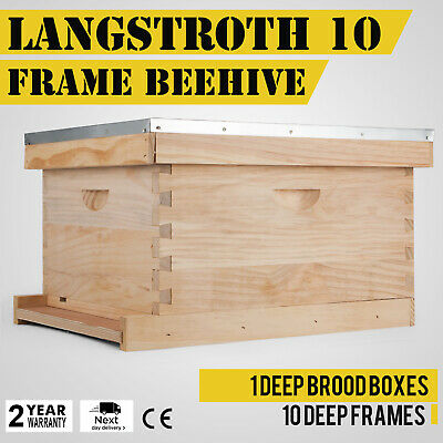 "Complete Hive Kit 10"" Frame New Honey Bee Traditional Box Body Top inside Cover"
