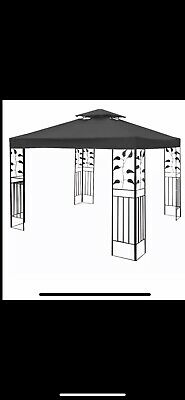 2 Tier Garden Gazebo Black Canopy Roof  Replacement Cover 3Mx3M
