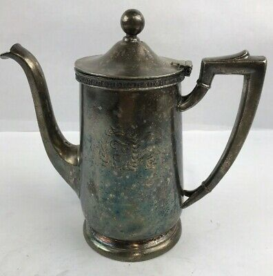 Vintage The FONTAINEBLEU Hotel Silver Soldered Coffee Pot IS w Logo