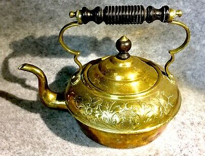 Small Antique Brass Tea Kettle   Victorian Kettle of Great Character
