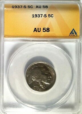 1937-S AU58 Certified by Anacs Buffalo 5 Cent Nickel Indian Head Type 2 Coin 172