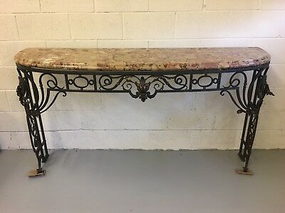Antique French Wrought Iron & Arzo Marble Console Table w/ Scroll & Filigree