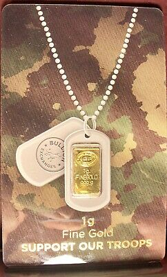 1 Gram IGR Gold Bar Support Our Troops 999.9 Assay Card By BULLION EXCHANGE