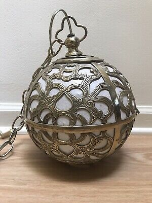 Vintage Japanese Karakusa Pierced Brass Pendant Lamp Chandelier Ceiling Light