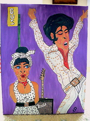 folk art painting Elvis whimsical funny naive 11x14 colorful