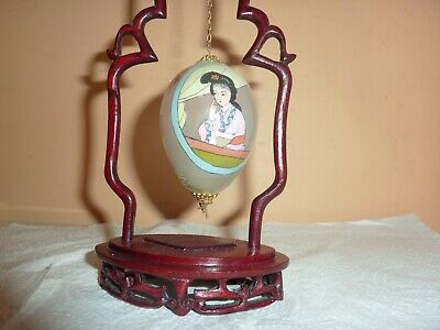 Chinese Wooden Frame &stand With Reverse Lady/flower,rock Hand Painted Glass Egg