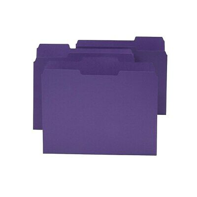 Staples Colored Top-Tab File Folders 3 Tab Purple Letter Size 24/Pack 659790