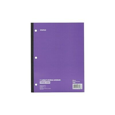 "Staples 1-Subject Notebook 8.5"" x 11"" College Ruled 80 Sh. Assorted 421133"