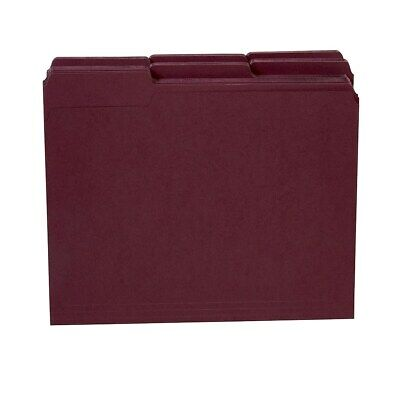 Staples Colored Top-Tab File Folders 3 Tab Maroon Letter Size 100/Pack 765438