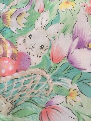 Beautiful Vintage Tablecloth Easter Eggs Bunny Rabbits Tulips Spring 68 x 102