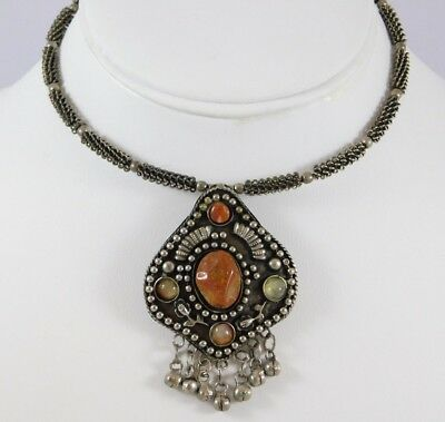 Designer Tribal Antique Silver Tone Choker With Stones Necklace