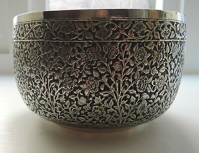 Stunning ANTIQUE PERSIAN / ISLAMIC / INDIAN KUTCH SOLID SILVER BOWL. 395g.