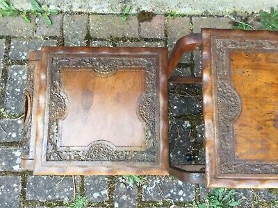 Three Vintage Antique Wooden Hand Carved Chinese Oriental Japanese Nest Tables