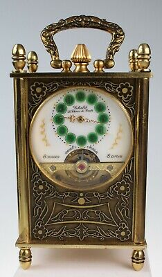 MINIATURE ANTIQUE 8 DAY CARRIAGE CLOCK circa 1910