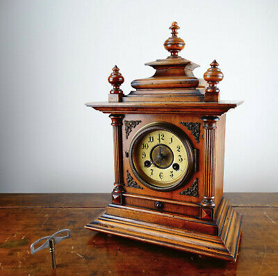 Antique Black Forest Mantel Clock by Junghans Germany c1910 Gong Chiming 8 Day