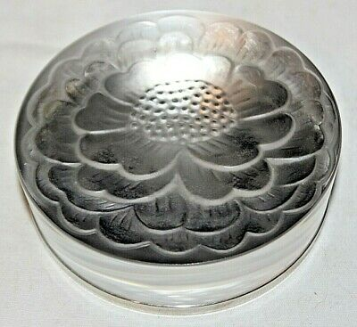 "Vintage Lalique France Paperweight Frosted Flower Petal Glass Metal 3.5"" Dia EXC"