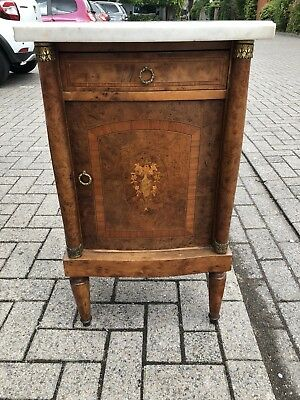 Antique French Walnut Inlaid Cabinet With Marble Top And Ormolu Mounts