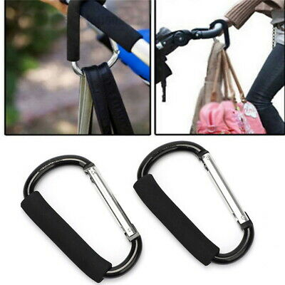 2 x Large Hand Carry Clips Shopping Bag Hooks For Buggy Pram Pushchair Stroller