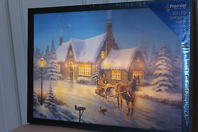 Christmas Large 3D Lenticular Snow Scene Light Up Horse & Cart Changing Picture