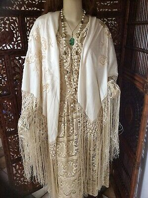 Vintage 1920s Cream Silk Piano Shawl with Cream Floral Embroidery & Long Fringe