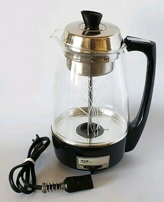70s PROCTOR SILEX SCM GLASS PERCOLATOR 70603 COFFEE POT MAKER FLOWERS