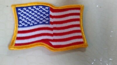 USA AMERICAN FLAG Embroidered Patch Waving Wavy Iron-On Sew