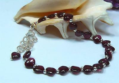Natural Translucent Red Rhodolite Garnet Hearts .925 Sterling Silver Bracelet
