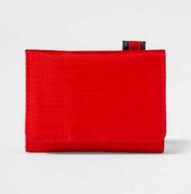 Target Goodfellow Co Mens Red Nylon Trifold Wallet Hook and Loop Closure NEW
