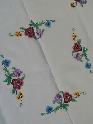 Vintage  Flowered Hand Embroidered  White Linen Table Cloth