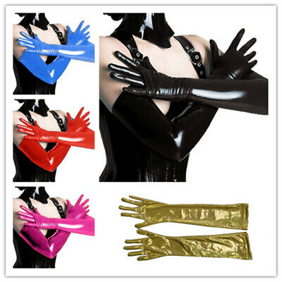 Adult Women Sexy Queen Long Arm Gloves Elastic Shiny Wet Look Faux Leather Color