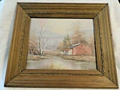 "Vintage, Oil Painting  Still Life Red Barn  Water  Art 12""X14"""